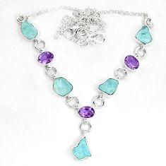 Natural aqua aquamarine rough amethyst 925 sterling silver necklace m82109