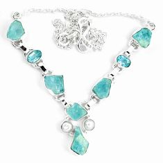 Natural aqua aquamarine rough topaz 925 sterling silver necklace m82110
