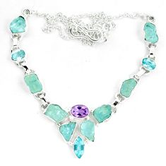 Natural aqua aquamarine rough amethyst 925 silver necklace m82111