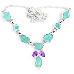 925 sterling silver natural aqua aquamarine rough amethyst necklace m82112
