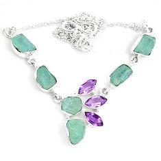 Natural aqua aquamarine rough amethyst 925 silver necklace jewelry m82113