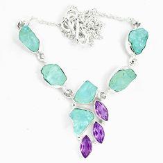 Natural aqua aquamarine rough amethyst 925 silver necklace jewelry m82114