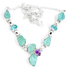 Natural aqua aquamarine rough amethyst 925 silver necklace jewelry m82115