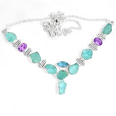 925 silver natural aqua aquamarine rough amethyst necklace jewelry m82116