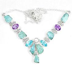Natural aqua aquamarine rough amethyst 925 silver necklace m82117