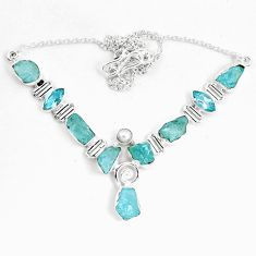925 sterling silver natural aqua aquamarine rough topaz necklace jewelry m82118