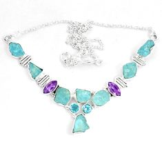 925 silver natural aqua aquamarine rough purple amethyst necklace m82120