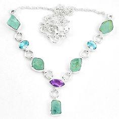 Natural aqua aquamarine rough amethyst 925 silver necklace m82178