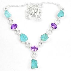 925 silver natural aqua aquamarine rough amethyst necklace jewelry m82179