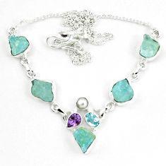Natural aqua aquamarine rough amethyst pearl 925 silver necklace m82180
