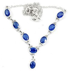 16.84cts natural blue sapphire oval 925 sterling silver necklace jewelry m96345