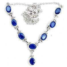 925 sterling silver 17.38cts natural blue sapphire oval necklace jewelry m96348