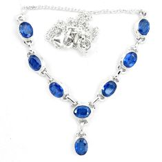 17.56cts natural blue sapphire 925 sterling silver necklace jewelry m96359