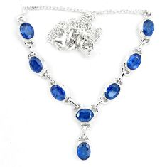 925 sterling silver 17.11cts natural blue sapphire necklace jewelry m96360
