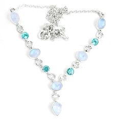 18.04cts natural rainbow moonstone topaz 925 sterling silver necklace m96371
