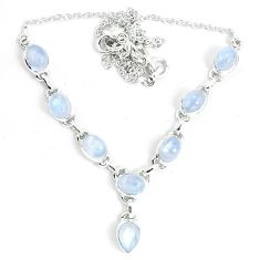 17.10cts natural rainbow moonstone 925 sterling silver necklace jewelry m96372