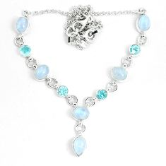 925 sterling silver 18.31cts natural rainbow moonstone topaz necklace m96373