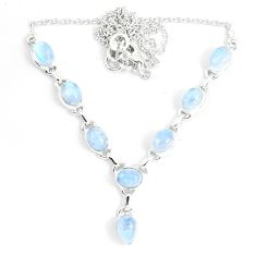 17.10cts natural rainbow moonstone 925 sterling silver necklace jewelry m96374