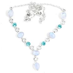 18.58cts natural rainbow moonstone topaz 925 sterling silver necklace m96375