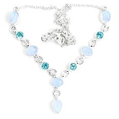 18.04cts natural rainbow moonstone topaz 925 sterling silver necklace m96376