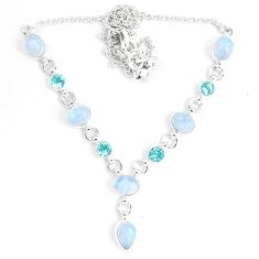 18.31cts natural rainbow moonstone topaz 925 sterling silver necklace m96378