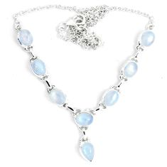 16.43cts natural rainbow moonstone 925 sterling silver necklace jewelry m96379