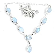 925 sterling silver 17.11cts natural rainbow moonstone necklace jewelry m96380