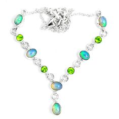 16.84cts natural multi color ethiopian opal peridot 925 silver necklace m96392
