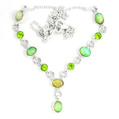 925 silver 17.11cts natural multi color ethiopian opal peridot necklace m96398