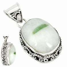 Natural green tourmaline in quartz 925 sterling silver pendant m10285
