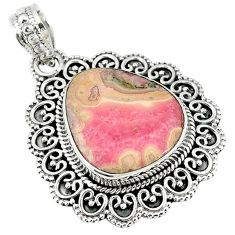 Natural pink rhodochrosite stalactite 925 silver pendant jewelry m10585