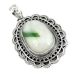 Natural green tourmaline in quartz 925 sterling silver pendant m10782