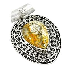 Natural yellow fossil coral (agatized) petoskey stone 925 silver pendant m10955