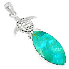 Green arizona mohave turquoise 925 silver turtle pendant jewelry m11027