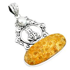 Natural fossil coral (agatized) petoskey stone 925 silver frog pendant m11361