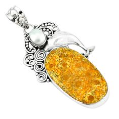 Natural yellow fossil coral (agatized) petoskey stone 925 silver pendant m11369