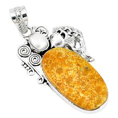 Natural yellow fossil coral (agatized) petoskey stone 925 silver pendant m11373