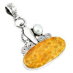 Natural yellow fossil coral (agatized) petoskey stone 925 silver pendant m11377