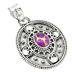 Purple copper turquoise 925 sterling silver pendant jewelry m11446