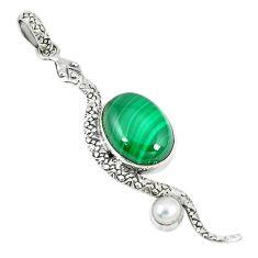 Natural green malachite (pilot's stone) 925 silver snake pendant jewelry m11748
