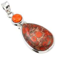 Natural red birds eye copper turquoise 925 silver pendant jewelry m13902