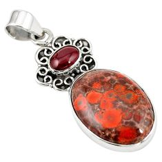 Natural red birds eye garnet 925 sterling silver pendant jewelry m13917