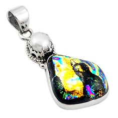 Multi color dichroic glass pearl 925 sterling silver pendant jewelry m14104