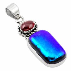 Multi color dichroic glass red garnet 925 sterling silver pendant m14105