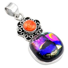 Clearance Sale-Multi color dichroic glass copper turquoise 925 silver pendant m14106
