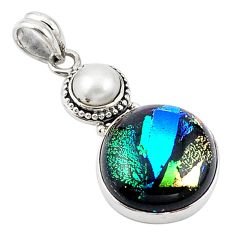 Clearance Sale-Multi color dichroic glass pearl 925 sterling silver pendant jewelry m14110