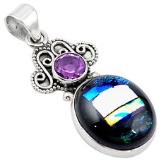 Multi color dichroic glass amethyst 925 sterling silver pendant m14116