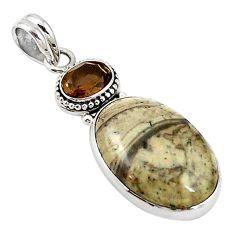 Natural brown mushroom rhyolite smoky topaz 925 silver pendant m14262