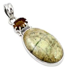 Natural brown mushroom rhyolite smoky topaz 925 silver pendant m14265