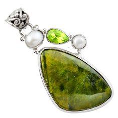 Natural green vasonite peridot pearl 925 sterling silver pendant m14845